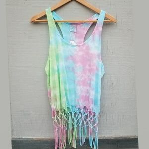 New! Tie Dye Pastel Kiwi Tank with Tied Strings